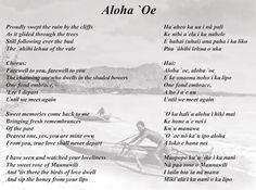 Lyrics to Aloha 'Oe, the farewell between two lovers written by Queen Lili'uokalani 1878