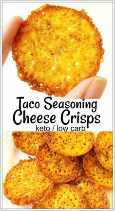 Let's taco 'bout these taco seasoning cheese crisps! Great sub for crackers or chips – 3 ingredients and 6 minutes in the oven, and you're snackin'. For keto low carb lifestyles, these zero carb snacks are a sanity-saver. Healthy Diet Recipes, Ketogenic Recipes, Keto Snacks, Low Carb Recipes, Healthy Snacks, Ketogenic Diet, Healthy Drinks, Easy Keto Recipes, Healthy Chips