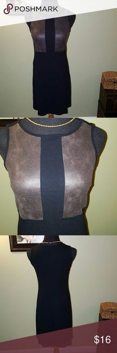Black Dress with Taupe Faux Leather Soft faux leather blocks offset this chic dress! Gently used. Karen Kane Dresses
