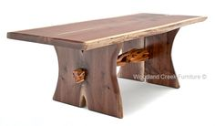"""This beautiful live edge slab rustic trestle coffee table is handcrafted with solid wood and a juniper log in a in custom made sizes for cabin, lodge decor - 48 or 54 x 24-30"""""""