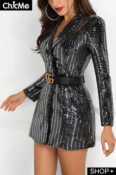 Long Sleeve Sequin Blazer Dress Style:Fashion Pattern Type:Sequin Polyester Neckline:Turn-down Collar Sleeve Style:Long Sleeve Decoration:Sequins Length:Mini Occasion:Workwear Package Belt) Blazer Outfits, Blazer Dress, Tweed Dress, Work Outfits, Spring Outfits, Trendy Outfits, Fashion Pattern, Sequin Blazer, Trend Fashion