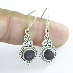 GARNET STONE HIGH QUALITY LIGHT WEIGHT DANGLE DROP 925 STERLING SILVER EARRINGS #SilvexImagesIndiaPvtLtd #DropDangle