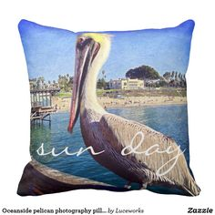 "Oceanside pelican photography pillow ""sun day"""