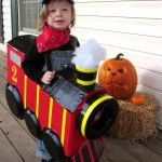 """Happy Halloween from Jax & I! My little man decided he wanted to be a """"choo choo"""" this year. He has since learned that he is actually an """"engineer"""". I love how his costu… Toddler Boy Halloween Costumes, Halloween Bebes, Fröhliches Halloween, Holidays Halloween, Halloween Decorations, Train Costume, Train Party, Diy Costumes, Costume Ideas"""