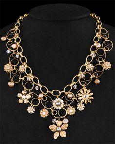 Liz Palacios Crystal & Plated Pearl Necklace