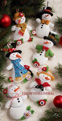 Bucilla Let It Snowman 6 Piece Felt Christmas Ornament Kit 86186 Frosty Lady & Garden Felt Christmas Decorations, Felt Christmas Ornaments, Christmas Holidays, Wood Ornaments, Beaded Ornaments, Christmas Projects, Felt Crafts, Holiday Crafts, Diy Crafts