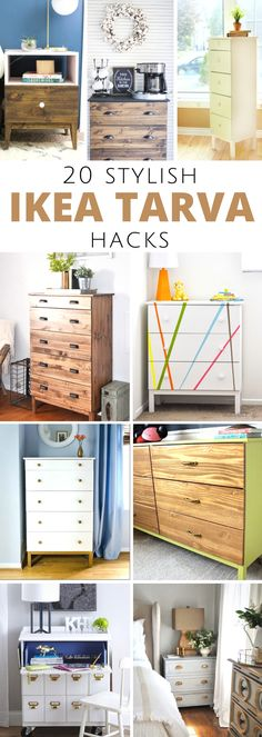 20 Ikea Tarva Hacks: Inspiring ideas for transforming basic Tarva pieces into different decor styles including modern farmhouse, traditional, modern and more! #modernfarmhouse #ikea #tarva