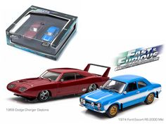 "1969 Dodge Charger Daytona and 1974 Ford Escort RS 2000 Mkl ""The Fast and The Furious"" Movie Diorama Set 1/43 Diecast Model Cars by Greenlight - Brand new 1:43 scale diecast car model of 1969 Dodge Charger Daytona and 1974 Ford Escort RS 2000 Mkl ""The Fast and The Furious"" Movie Diorama Set die cast car model by Greenlight. Rubber tires. Brand new box. Limited Edition. Detailed interior, exterior. Comes in plastic display showcase. Dimensions approximately L-5 inches long.-Weight: 2. Height…"