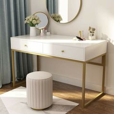 Hansel Modern Computer Desk with Drawers, Makeup Vanity Console Table for Home Office, White Gold Desk Essentials, Bedroom Desk, Bedroom With Vanity, Modern Bedroom, White Vanity Desk, Modern Vanity Table, Modern Console Tables, Bedroom Wardrobe, Bedroom Black