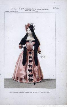 Costume design for soprano Julie Dorus-Gras' role of Dona Elvira in Mozart's opera Don Giovanni. Coloured etching, by Louis Maleuvre, 1834, Bibliothèque nationale de France