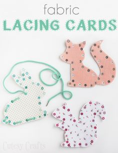 Cute FABRIC lacing cards!