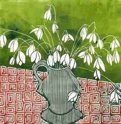 Snowdrops Tessa Charles linocut