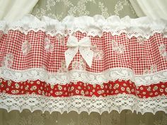 curtian valances Landhausgardine Sommeralm romantik rot vintage 274 from bluebasar by DaWanda.com