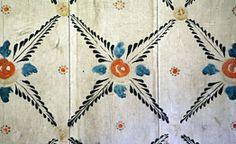 Detalj från väggmålning / Detail of wall decorative painting. Swedish traditional interior decor.