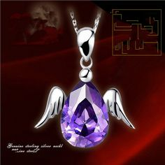 YOU089 Female fashion jewelry items noble crystal necklace short paragraph clavicle chain angel wing pendant fashion jewelry