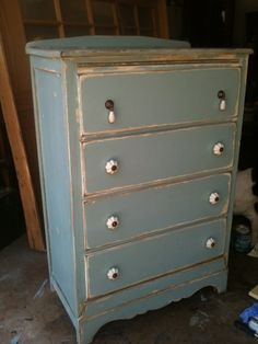 antique dresser finished in a robins egg blue and white....great nursery piece!