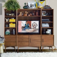 Build Your Own - Mid-Century Media - Acorn, Entertainment Center | West Elm Plywood Furniture, 60s Furniture, Mid Century Furniture, Media Furniture, Furniture Removal, Rustic Furniture, Furniture Ideas, Bedroom Furniture, West Elm Mid Century