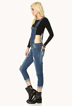 Chic Distressed Denim Overalls | FOREVER21 - 2000093022