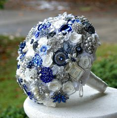 Royal blue Wedding Brooch Bouquet. Deposit on a by annasinclair