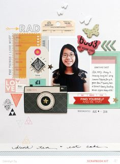 #papercraft #scrapbook #layout. Rad by qingmei at @studio_calico