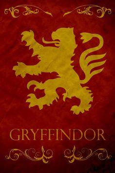 Harry Potter Hogwarts House Banner Gryffindor Art Print