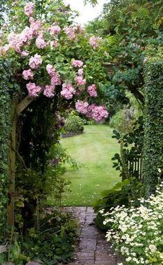 Pretty rose arbor garden entry