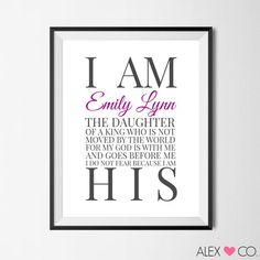 Printable Quotes | I Am The Daughter Of A King | Baptism Print | DIY Print | Alex & Co. Printables