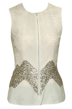Beige sequins embroidered swirl textured top by Rohit Gandhi and Rahul Khanna. Shop now: http://www.perniaspopupshop.com/designers/rohit-gandhi-rahul-khanna #shopnow #perniaspopupshop #rohitgandhirahulkhanna