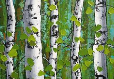 TITLE: Birch in the Greenery This is an original abstract painting hand painted by the artist. DESCRIPTION: This painting was inspired by my continued love of birch trees. The background is my interpretation of the forest in the distance beyond the grove of birch. Tree trunks