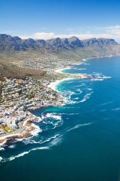 Aerial view of coast of Cape Town, South Africa