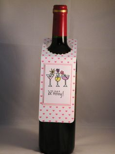 Hand Made Pink Wine Bottle Tag with Festive by APaperParadise, $2.50
