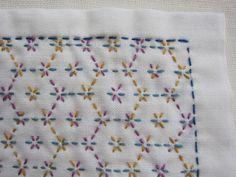 刺し子の布巾(花亀甲/ミックスカラー)