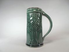 Celtic Cross Stein  Beer Mug Tankard  Emerald by CHISCHILLYPOTTERY