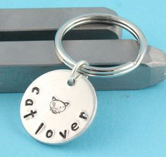Cat Lover Handstamped Keychain  Silver Key by StampinOffThePath, $13.00
