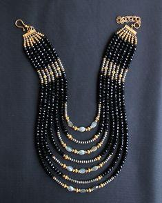 Black Glass Crystals, Labradorite & Pyrite Statement Necklace 2