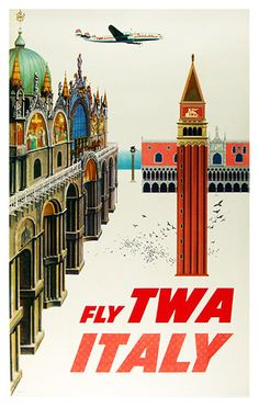Fly TWA Italy Travel Poster Poster Paper Sticker or by WallArty