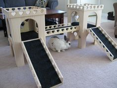 In an effort to help raise money for our local rabbit shelter, weve now added bunny castles to our small but still growing list of items were selling on Etsy. Youre getting the complete set as shown in the pictures. Made from pet safe kiln dried Pine, this castle set includes 2 towers, 2 removable lids, a 2 foot long bridge, and 2 ramps. Theres carpeting in both castles and on the bridge and ramps. Our castles offer much more room inside than others. The castles are 25-3/4 tall and ...