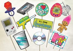 I Love The 90s Photobooth Props - Digital Download -Printable 1990s Nostalgia Retro Gameboy Troll MTV CD Ringpop Vintage Party Decoration by instantadventure on Etsy https://www.etsy.com/listing/564364601/i-love-the-90s-photobooth-props-digital