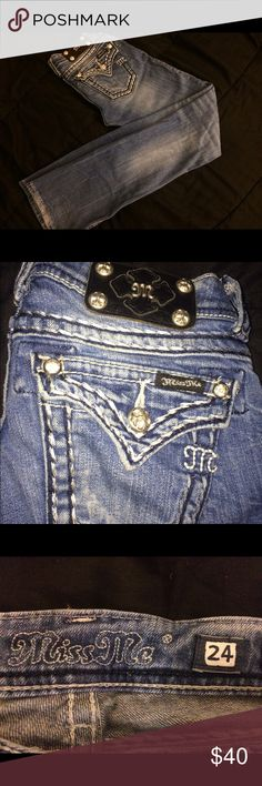 Miss me jeans Low rise boot cut button flap back pockets thick stitched distressed denim Miss Me Pants Boot Cut & Flare