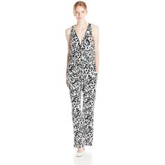 Vince Camuto Women's Printed Jumpsuit with Blouson Bodice ($30) ❤ liked on Polyvore featuring jumpsuits, vince camuto, mesh inset jumpsuit, white jump suit, vince camuto jumpsuit and jumpsuits & rompers