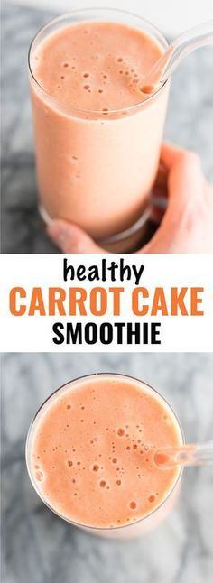 Healthy carrot cake smoothie recipe. Breakfast? Dessert? It can be either! | https://todayshealthnutritionsecrets.com/perfect-skin-smoothies/