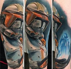 Basilica Tattoo is a Las Vegas Tattoo Shop with world renowned tattoo artists Vic Vivid, Noelin Wheeler, and Dwight Bulb. Located in the heart of Las Vegas. War Tattoo, Star Wars Tattoo, Star Wars Clone Wars, Star Wars Art, Stormtrooper Tattoo, Outer Space Tattoos, Tattoo Las Vegas, Tattoo For Son, Clone Trooper