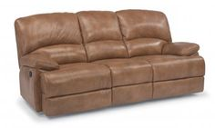 Dylan Leather Three-Cushion Chaise Reclining Sofa at Turner