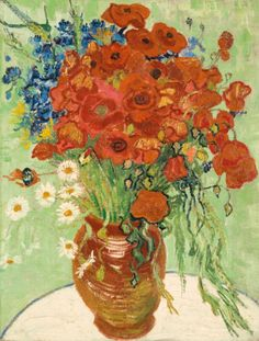 Gogh, Vincent van. Nature morte, vase aux marguerites et coquelicots. Painted on June 16-17, 1890.