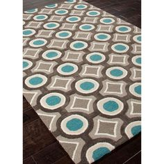 Charcoal Gray & Turquoise Blue 8' x 10' Brio Area Rug