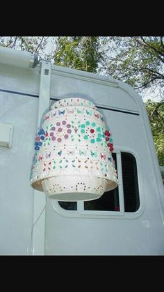 Light For Patio Or Camping Made Out Of Upside Down Flower