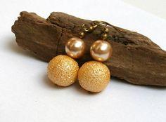Bridal Jewelry Gold Crystal Glitter Dangle Earrings Handmade