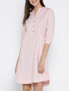 4917d6f2508 Buy Pink Cotton A-line Dress by Vaak - Online shopping for Dresses in India
