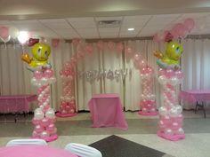 Tweety Bird Balloon Columns with String of Pearls Arch by Extra POP by Yolanda