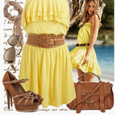 like the dress the best of this outfit! Yellow Dress Summer, Cute Summer Dresses, Cute Dresses, Summer Outfits, Cute Outfits, Yellow Sundress, Summer Clothes, Yellow Maxi, Maxi Outfits